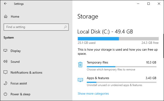 Storage settings on Windows 10