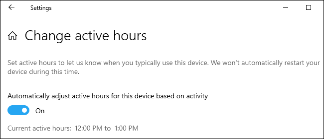 Active hours options in Settings