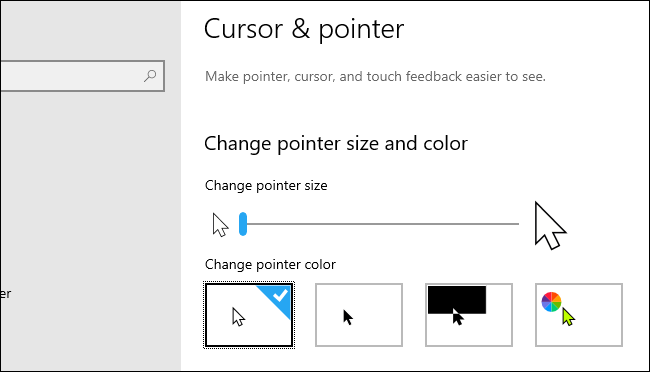 Windows 10's Cursor & pointer settings page