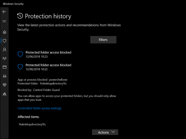 Protection History in Windows Security