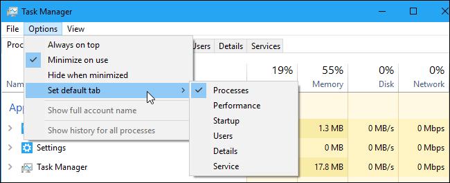 The Set default tab menu in Windows 10's Task Manager