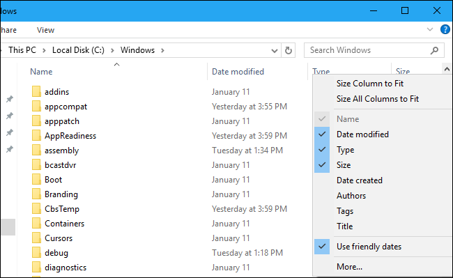 "File Explorer showing the ""Use friendly dates"" option"