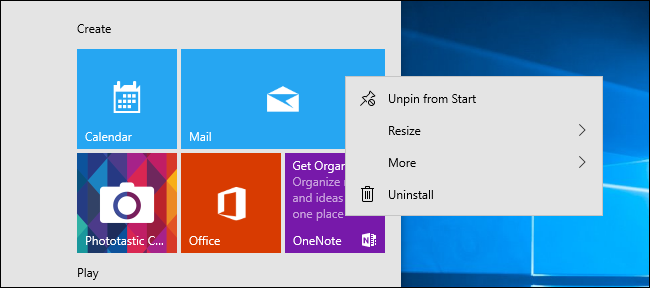 Context menu from an app tile in Windows 10's Start menu