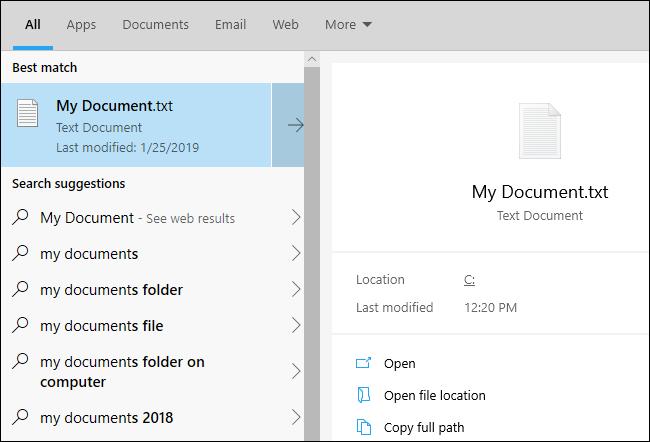 New taskbar file search interface on the Windows 10 1903