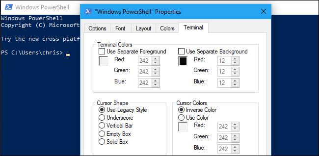 Experimental terminal settings in PowerShell