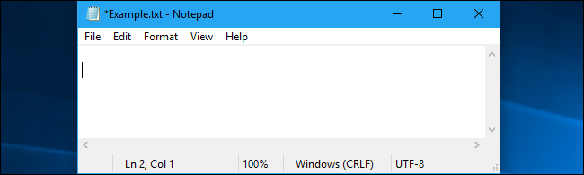 Notepad showing new features in 19H1