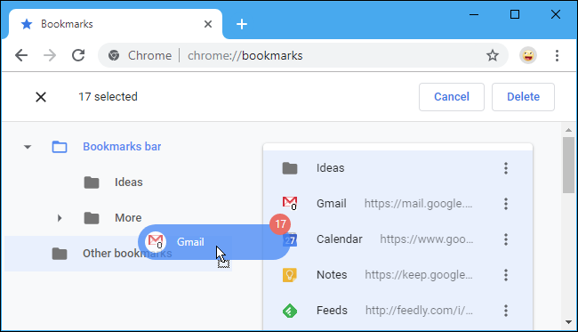 Drag and drop a Bookmark into any of the folders on the left.