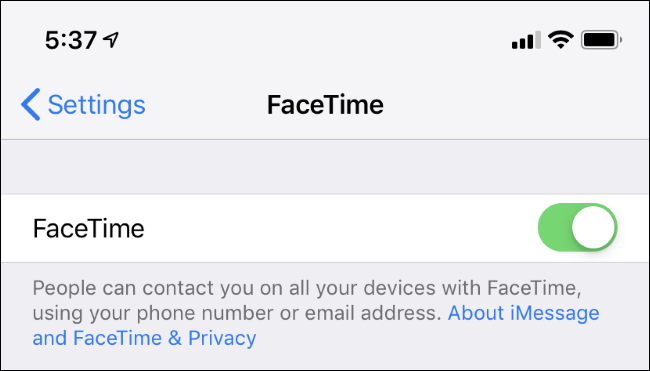 FaceTime settings on iPhone