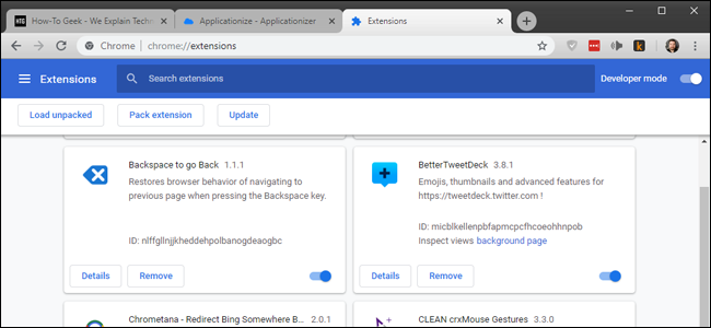 Chrome's Extensions interface.