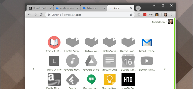 Chrome's Apps page. The new extension is at the bottom.