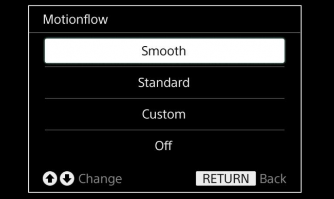Motionflow options on a Sony TV