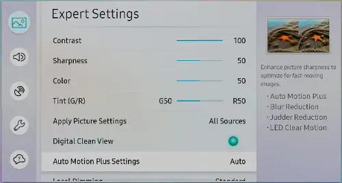 Auto Motion Plus settings on a Samsung TV