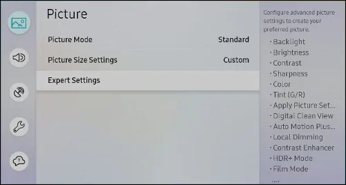 Picture settings on a Samsung TV