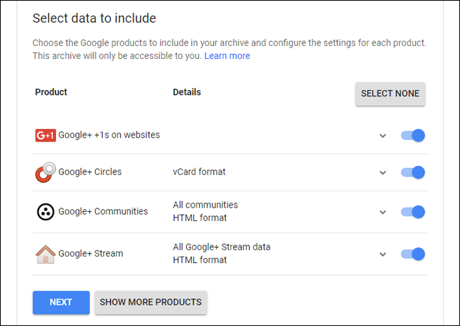 Google Takeout for Google+.