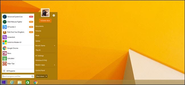 Default Start menu with Start Menu 8 running