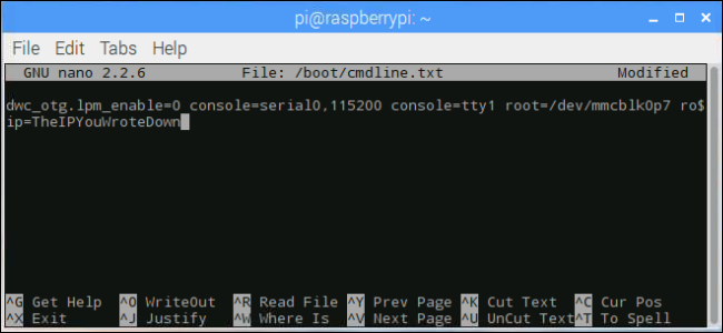 terminal window: changing the ip address
