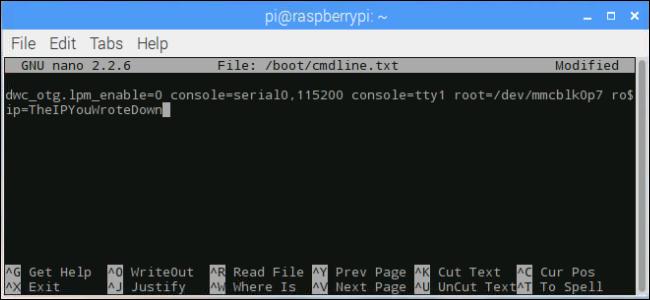 terminal window: changing the ip address