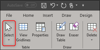 select in layout tab