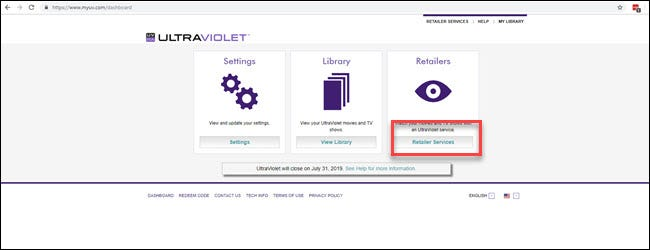 UltraViolet website with Retailer Services section highlighted