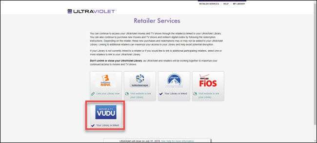 UltraViolet Retailer Services options with Vudu highlighted