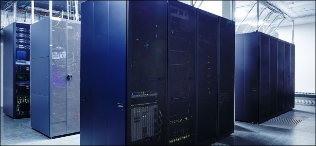 modern supercomputers in the server room of datacenter