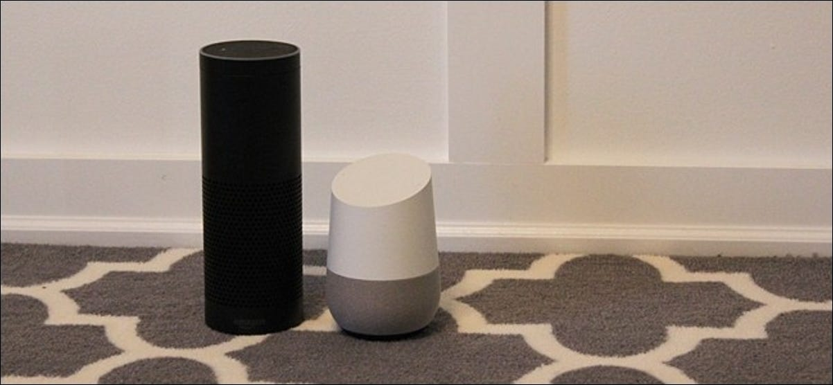 An Amazon Echo and an Google Home side by side