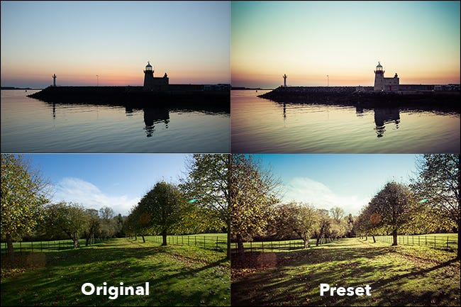 beach and field scenes, shown before and after presets are applied