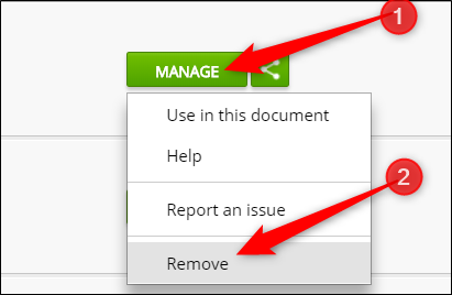 Click Manage, then click Remove