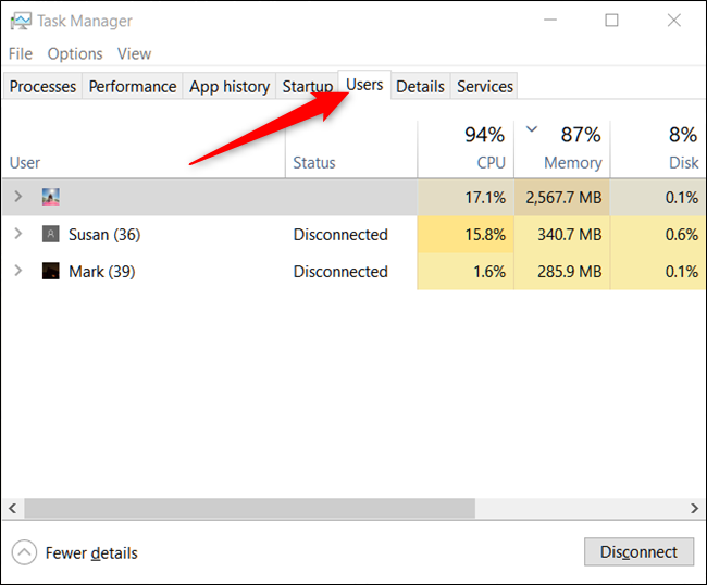 Users tab of Task Manager