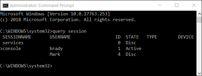 command prompt, query session command