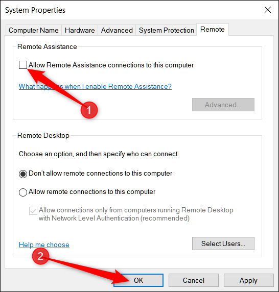 Disable the remote assistance check box
