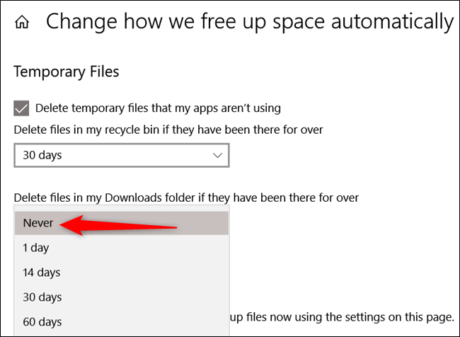 Select never from drop-down menu