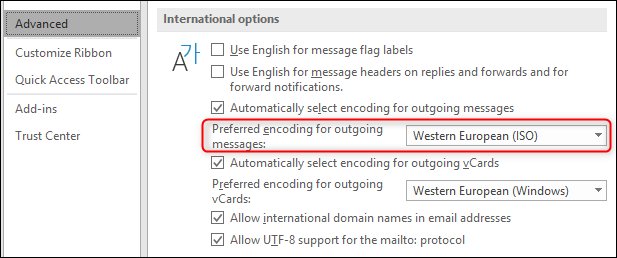 Choose Advanced, Internal Options to change the default encoding