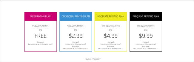 HP Instant Ink Pricing Plan
