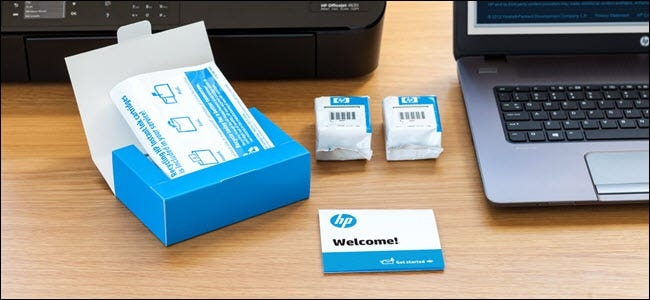 hp instant ink welcome brochure and ink cartriges