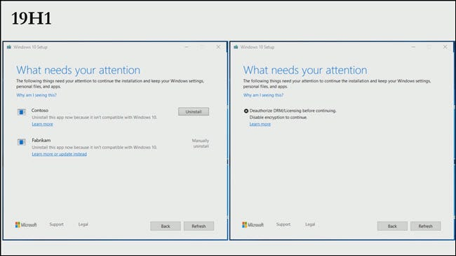 Windows 10 Setup dialog with uninstall buttons, links to error articles