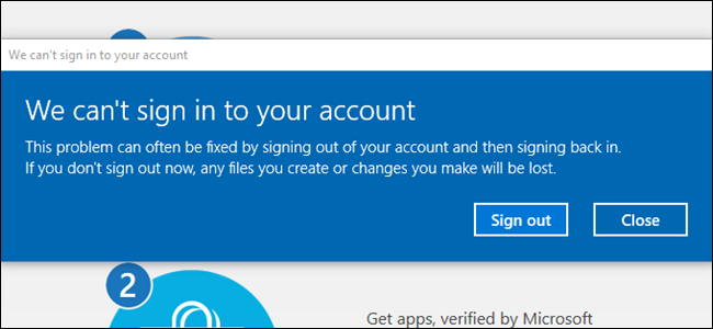 Error Message stating that you can't sign into your account