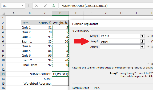 In the Array2 box, select the cells with the weights