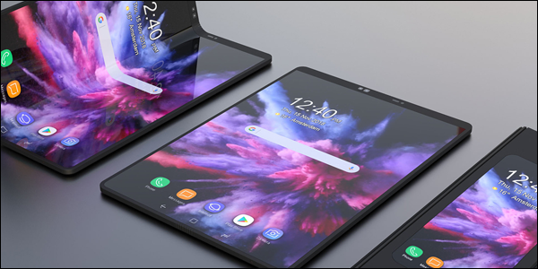 Concept art of the Samsung Galaxy F foldable phone