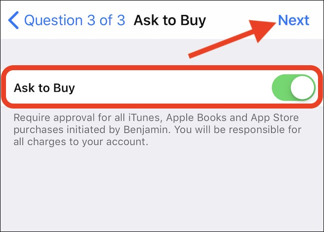 Enable purchase confirmation and tap next.