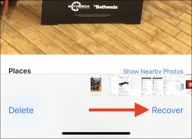 Tap the image and then tap Recover