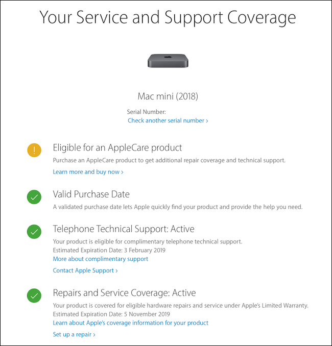AppleCare Statement of Statement and Status
