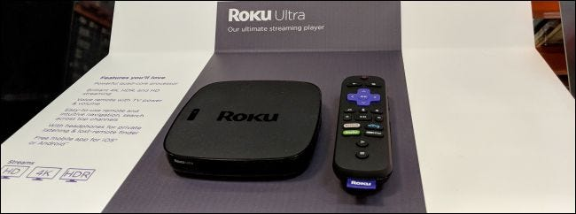 roku ultra and remote control on shelf
