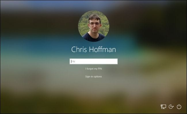 Windows 10's welcome screen with an acrylic background