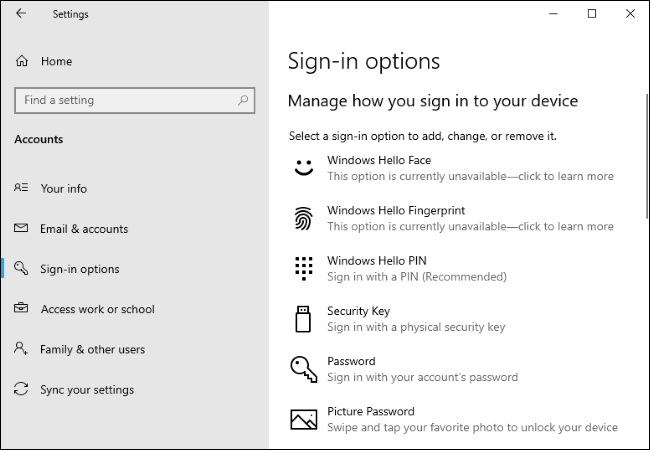 The Sign-in options page in Settings