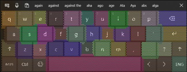 The touch keyboard showing adapting touch targets