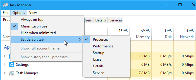 The Set default tab menu in Windows 10's Task Manager