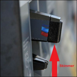 credit card skimmer attached to an ATM