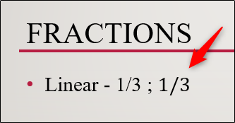 linear fraction structure inserted