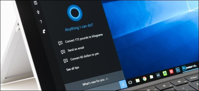 Surface Pro 4 with Cortana open